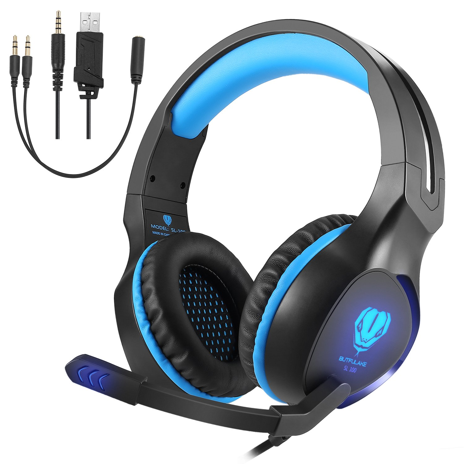 Gaming Headset with Mic, VPRAWLS 3.5mm Wired Over-Ear Bass Surround Stereo Headphone with Noise Cancelling, LED Light, Volume Control for PS4 New Xbox One Laptop Mac PC Computer Games