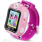 """Kinder Smart Armbanduhr 128MB Speicher, 1,5"""" Touchscreen mit 90 Grad drehbare Kamera, Video, Aufnahme, Spiele, Stoppuhr, Wecker, von AGPTEK (Pink)"""