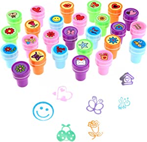 Stamps for Kids,LUCKYBIRD Best Sell Self Inking Stamps Heart Toy Stamp/Kids Stamp Set/Funny Plastic Stamps, 26 Count