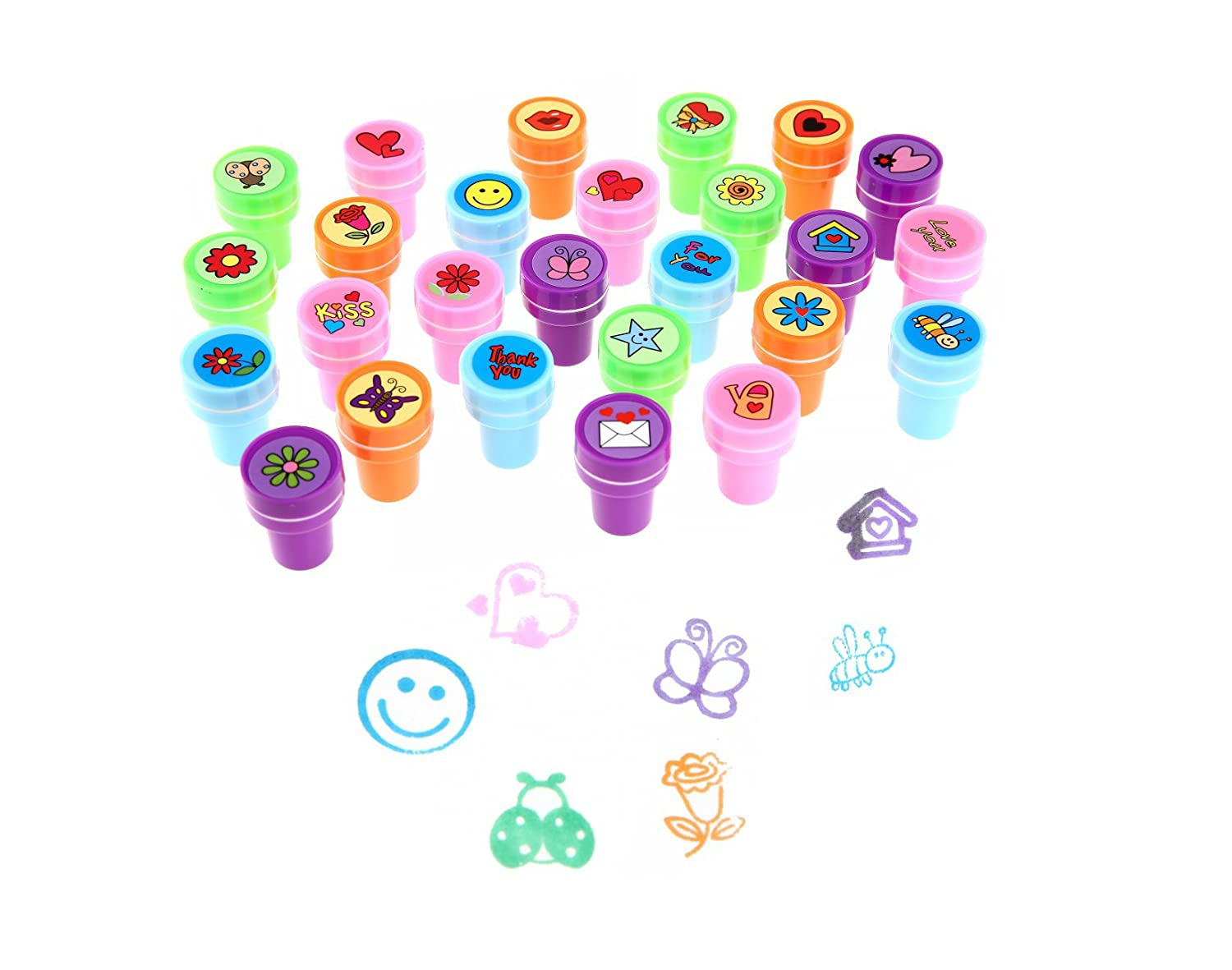 LUCKYBIRD Stamps for Kids Best Sell Self Inking Stamps Heart Toy Stamp Kids Stamp Set Funny Plastic Stamps 26 Count