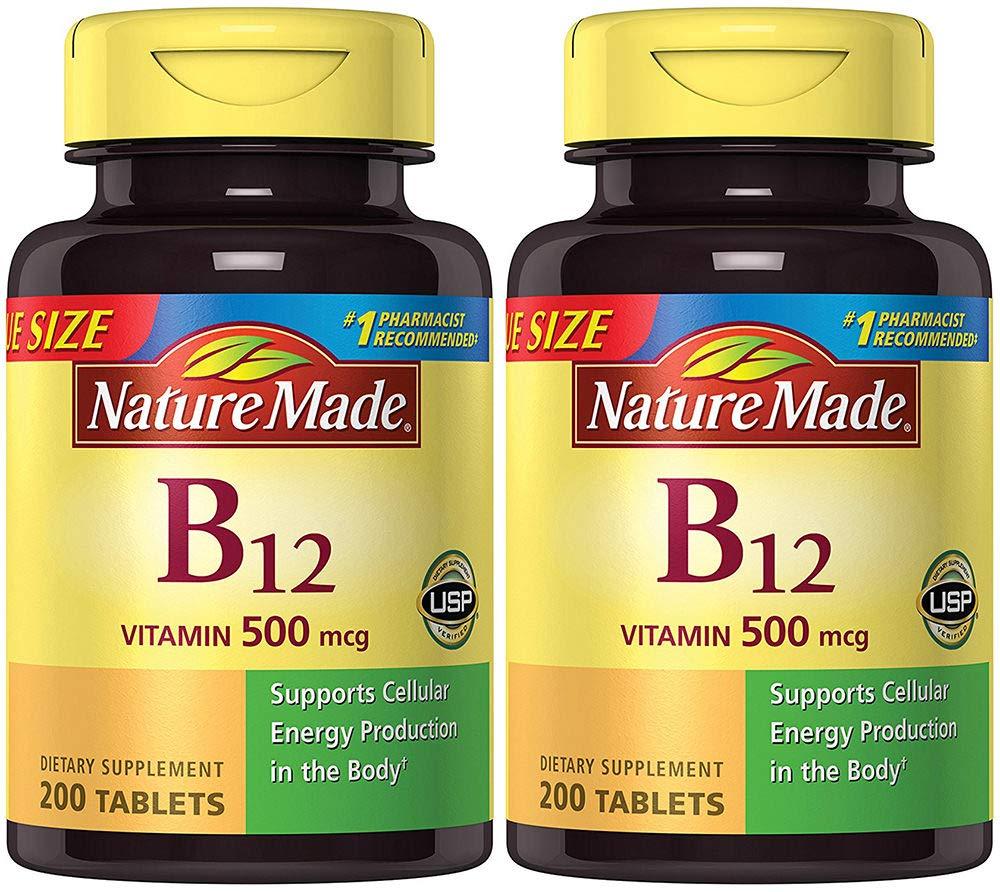 Nature Made Vitamin B12 500 mcg, 200 Count (2 Bottles)
