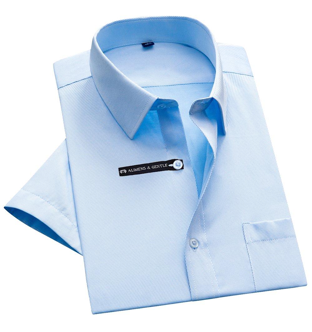 Alimens & Gentle Twilled Texture Bussiness Men's Dress Shirt Short Sleeve Regular Fit - Color Blue, Size: 3XL/19.5 Neck