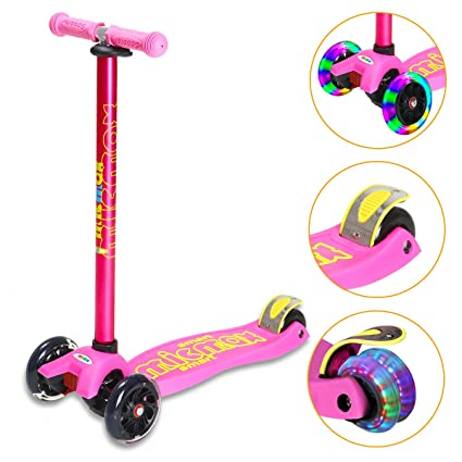 Banne Scooter Height Adjustable Lean to Steer Flashing PU Wheels 3 Wheel Kick Scooters for Kids