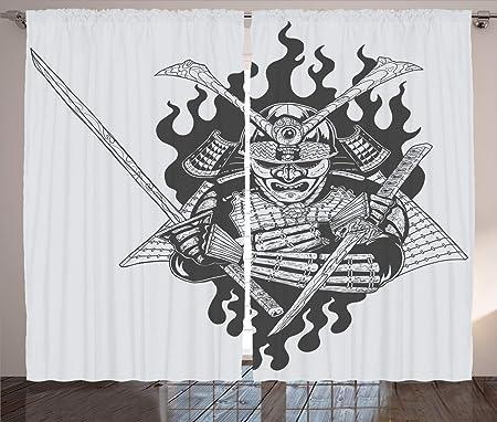 ABAKUHAUS japonés Cortinas, Fantasma Ninja Fuego Oriental ...