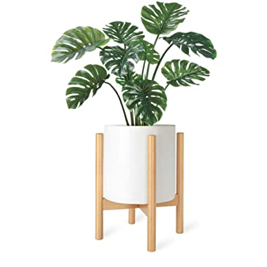 Mkono Plant Stand Mid Century Wood Flower Pot Holder Display Potted Rack Rustic, Up to 10 Inch Planter (Planter Not Included), Natural