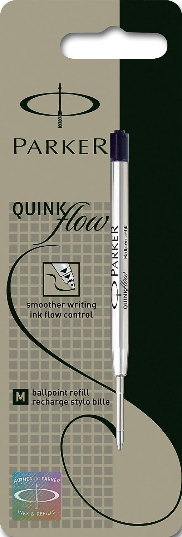 Parker Quinkflow - Confezione da 2 ricariche per penna a sfera, tratto medio, colore nero Newell Rubbermaid S0909560
