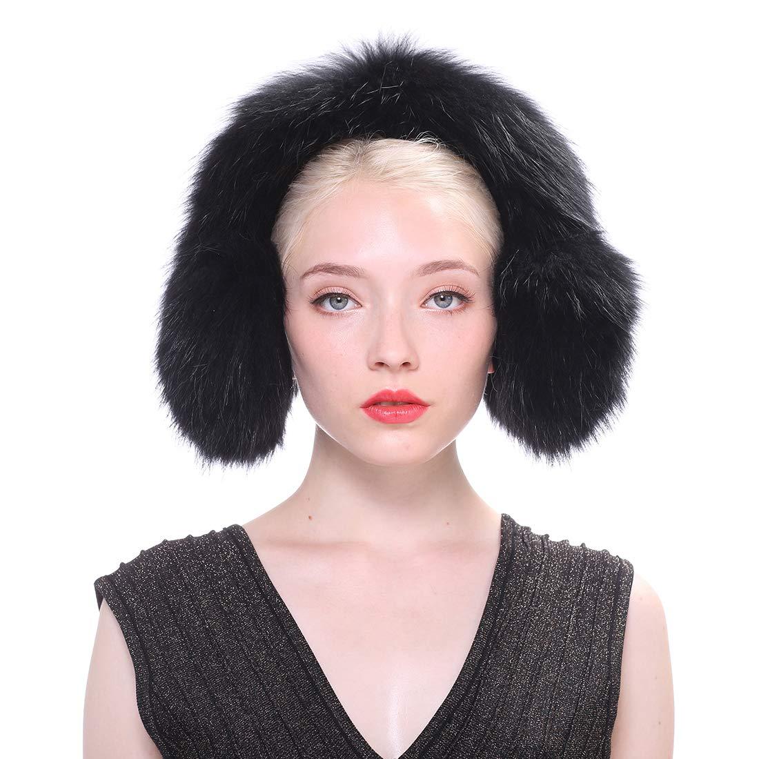 URSFUR Women Winter Mink Fur Earmuffs Warm Outdoor Plush Scarf Black