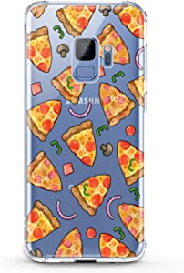Anreda TPU Case Compatible with Samsung Galaxy J8 J7 Prime J6 Plus J5 J4 Core J2 Smooth Present Flexible Cover Tasty Food Pieces Soft Girl Slim fit Design Women Silicone Print Pizza Gift Clear Stylish