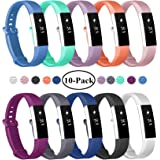Fundro Compatible Fitbit Alta Bands, 10-Pack Soft Silicone Replacement Classic Bands Large Small Available in Varied Colors Secure Buckle Fitbit Alta HR Fitbit Alta