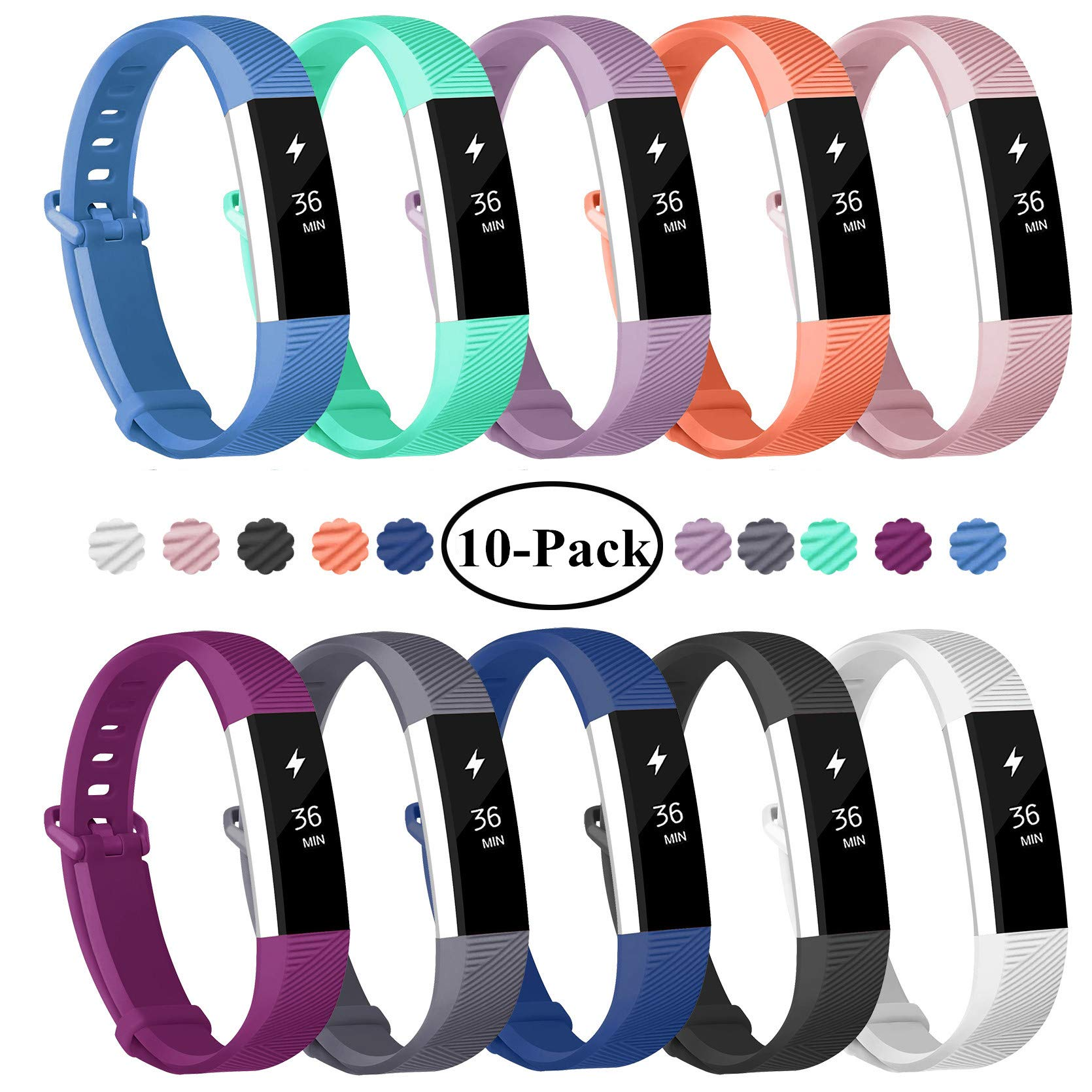 Fundro Replacement Bands Compatible with Fitbit Alta and Fitbit Alta HR, Newest Sport Strap Wristband with Secure Metal Buckle (A# 10-Pack, Small) by Fundro