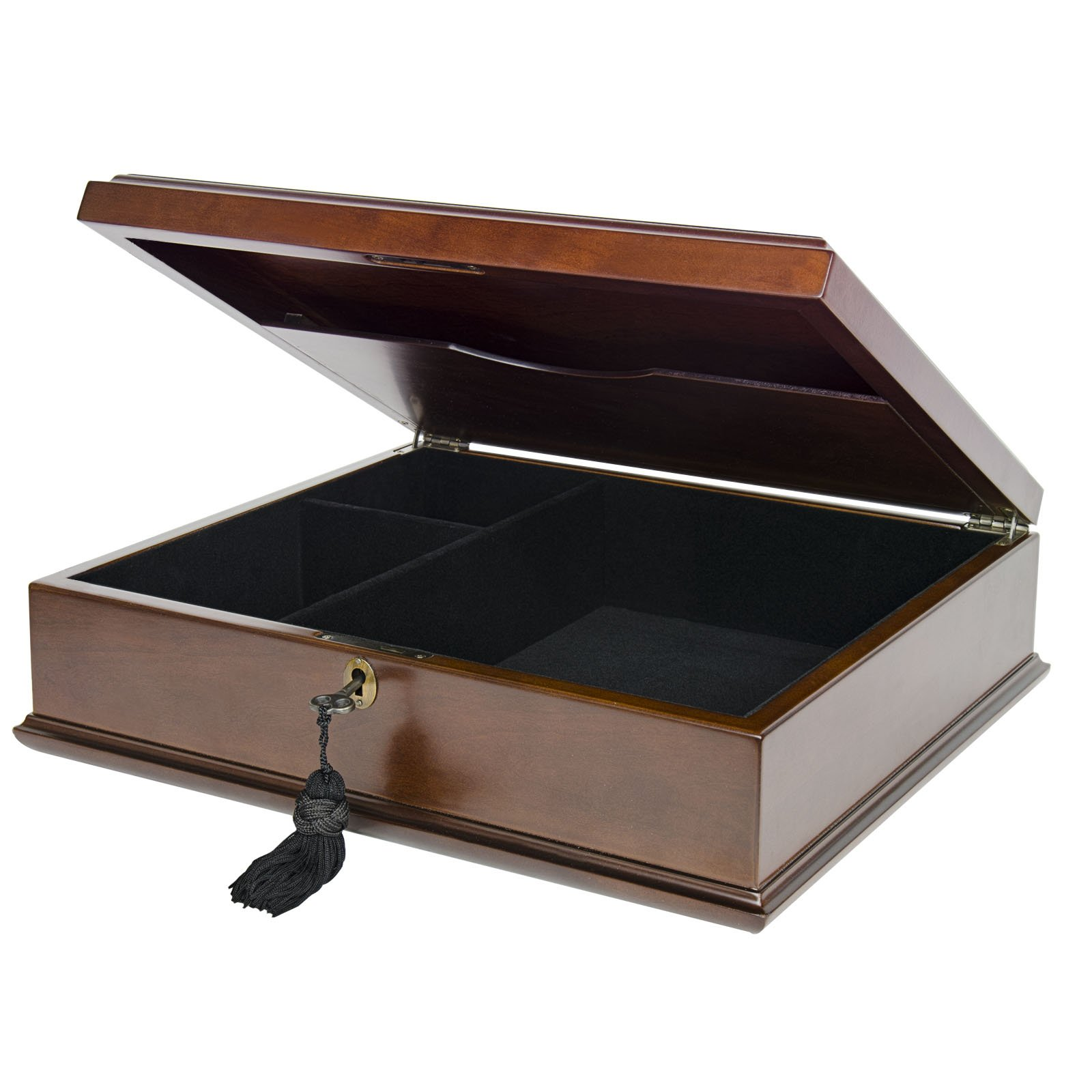 Large Romeo Memory Box Organizer Mahogany Wood Finish for Photo Album CD DVD USB & other Valuables Size 14 x 12 x 5 Inches