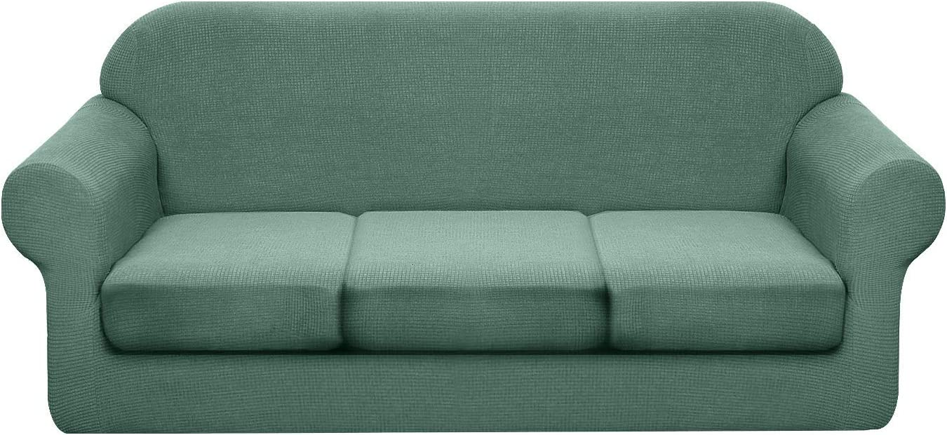 Granbest 4 Piece Premium Water-Repellent Sofa Slipcover for 3 Cushion Couch High Stretch Sofa Cover for 3 seat Sofa Super Soft Fabric Couch Cover for Dogs Pets Furniture Cover (Large, Matcha Green)