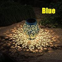 Lámpara Luz de Linterna Solar Al Aire Libre, LED Luz Colgante de Jardín Patio Impermeable Linterna Colgante Decorativa para Patio Yard Exterior Interior Césped (Azul)