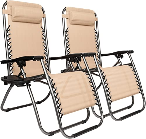 Knocbel 2-Pcs Zero Gravity Outdoor Lounge Folding Chair