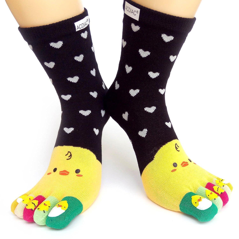 Winter Women/Girl Toe socks Funky small yellow chicken printing cotton Long sock acdiac JYca-2
