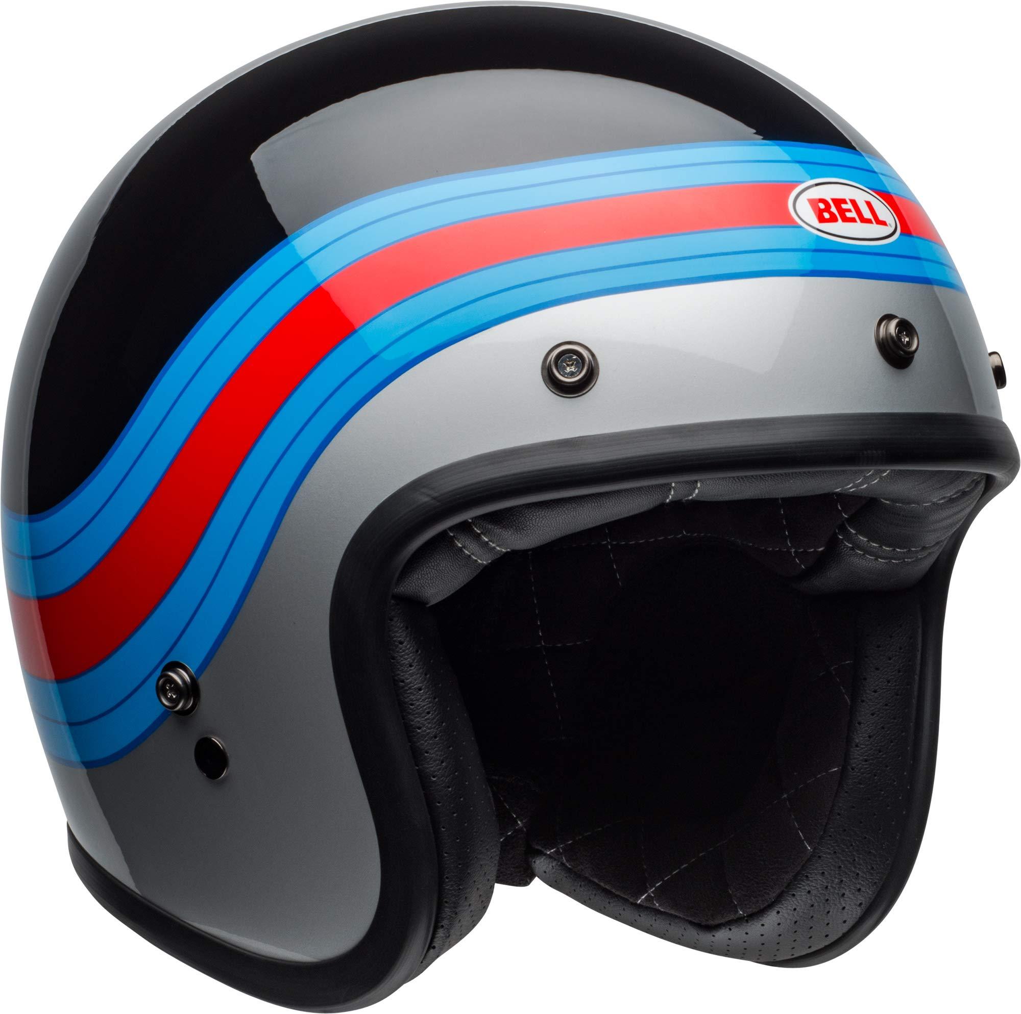 Bell Custom 500 Open-Face Motorcycle Helmet (Pulse Gloss Black/Blue/Red, Medium)