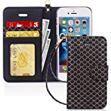 FYY Wallet Phone Case for iPhone 5/5s/SE (1st gen-2016), [Kickstand Feature] Luxury PU Leather Flip Case Protective Cover wit