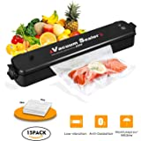 Vacuum Sealer,Welhunter Food Vacuum Packing Machine with Vacuum Hose Automatic Vacuum Sealing System With 15pcs Sealer Bags[Black]