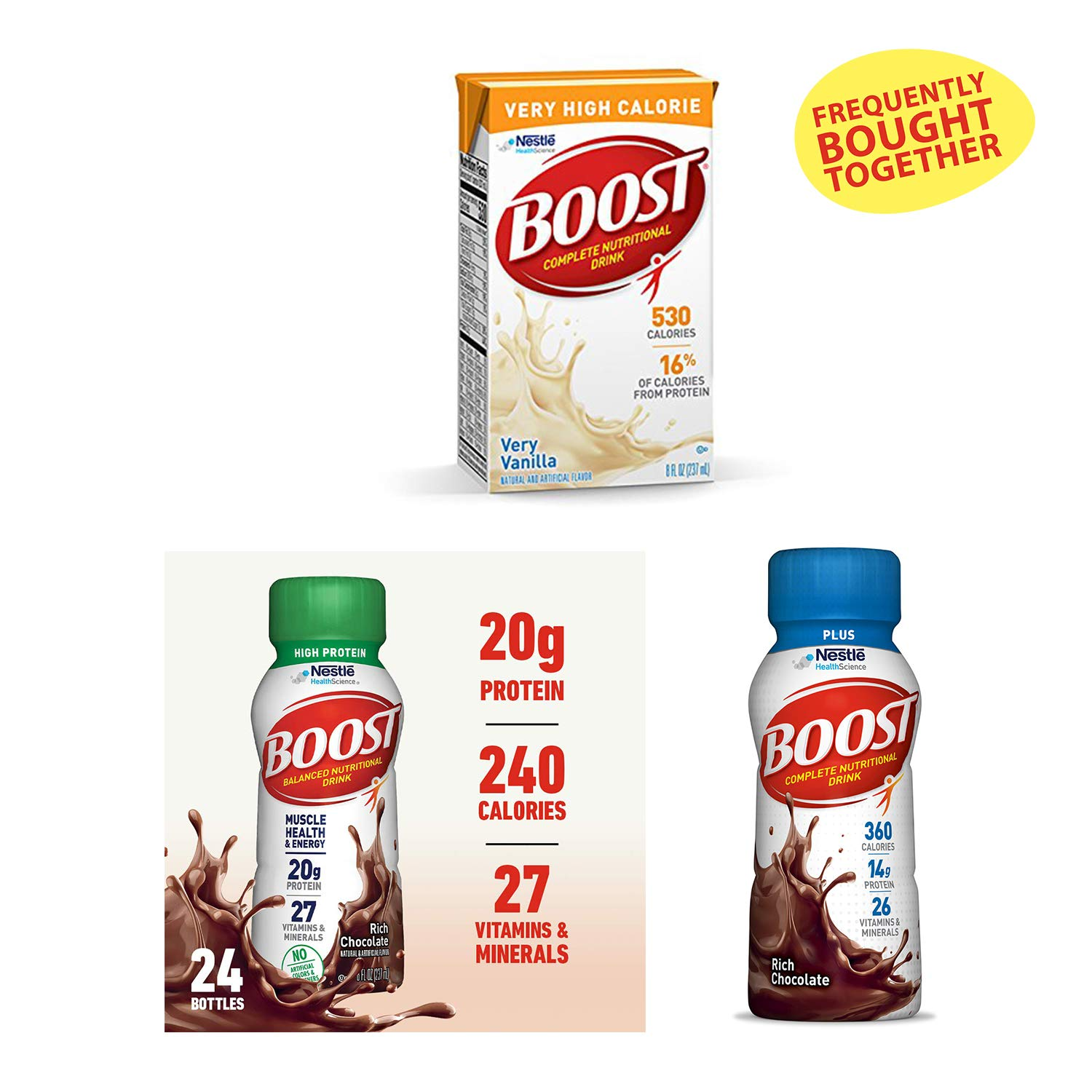 Boost Complete Nutritional Drink, Rich Chocolate - Plus (8 fl oz Bottle, 24 Pack), High Protein (8 fl oz Bottle, 24 Pack) and VHC Very High Calorie (Very Vanilla, 8 fl oz Box, 27 Pack) by Boost Nutritional Drinks