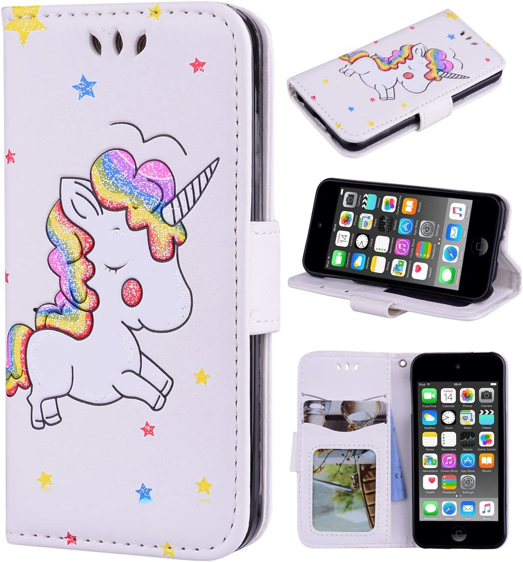 Ranyi iPod Touch 7 Case, iPod Touch 6 Case, iPod Touch 5 Case, Cute 3D Glitter Bling Unicorn Embossed [Flip Magnetic Wallet] PU Leather Folio Wallet Case for iPod Touch 5 6 7th Generation (White)