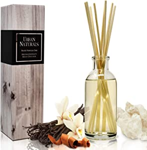 Urban Naturals Black Vanilla Oak Reed Diffuser Gift Set. with Warm Vanilla, Oak, Cedar, Patchouli and Musk Scent Notes. A Sensual, Aromatic Home Fragrance. Vegan. Made in The USA