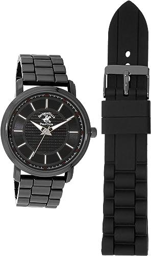 Beverly Hills Polo Club Gunmetal Reloj De Pulsera Para Hombre Con Movimiento De Cuarzo Paquete De Regalo De Doble Correa Correa De Metal Y Silicona Incluida Watches