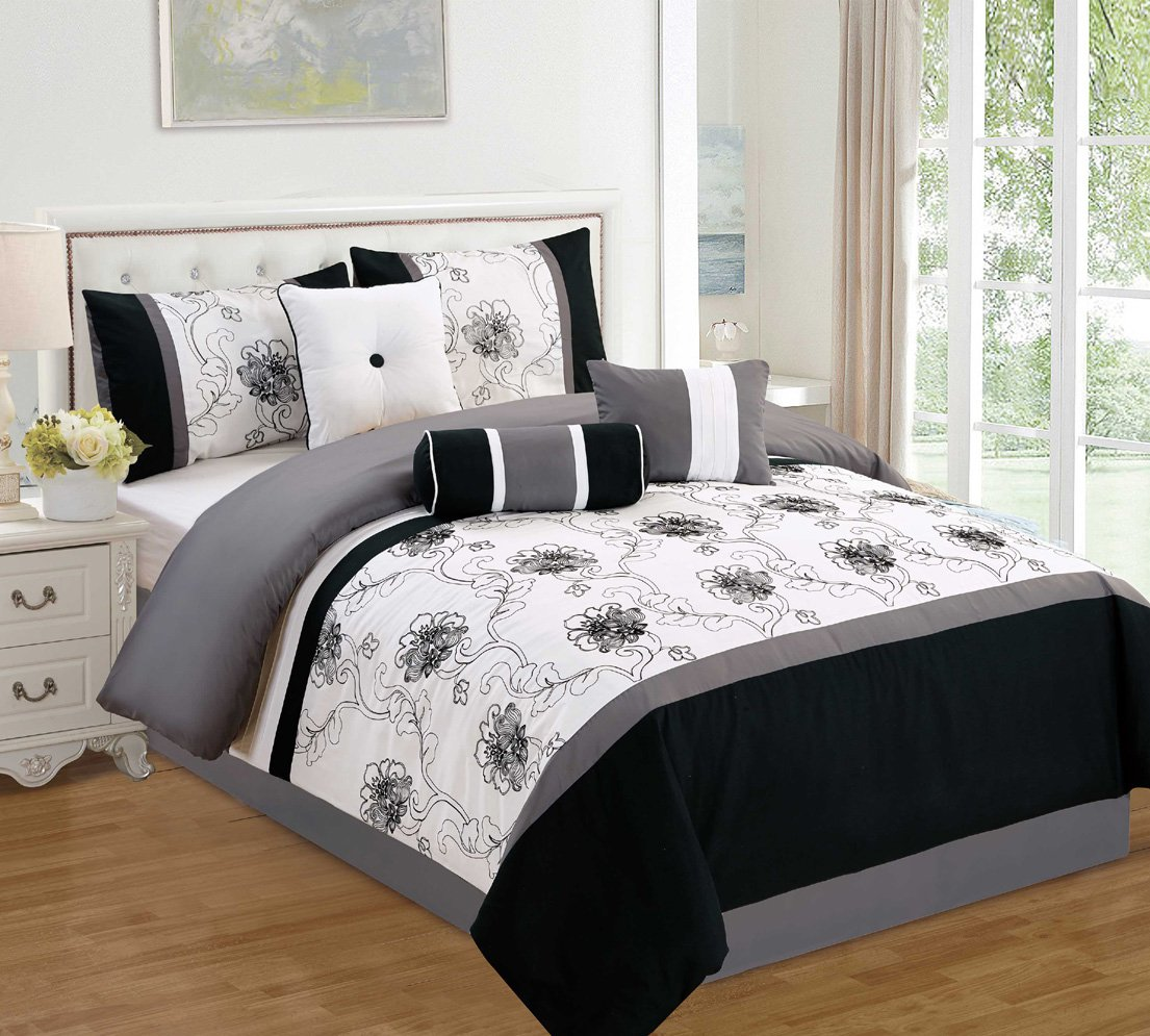 Modern 7 Piece Bedding Black / White / Grey Floral Embroidered King Comforter Set with accent pillows