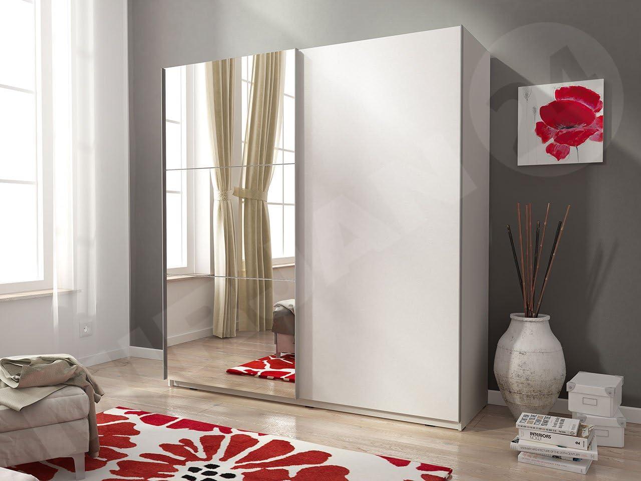 Armario Mika II 150, Moderno Dormitorio Armario con Espejo, 150 x ...