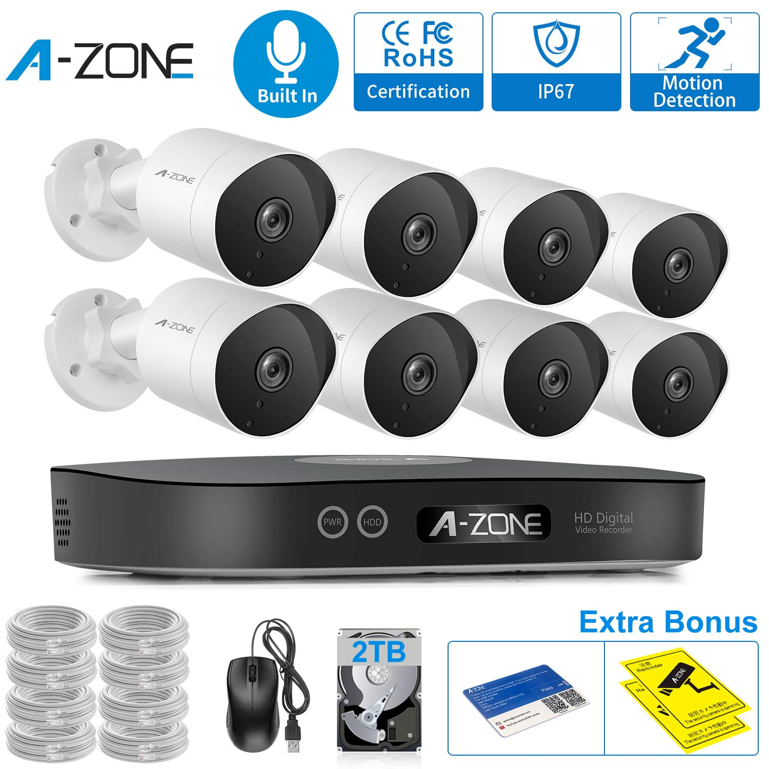 Security Camera System 8CH 1080P Bullet IP PoE System, 8 Outdoor/Indoor 3.6mm Fixed Lens 2.0 Megapixel IP67 Waterproof Cameras,Smart Motion Detection, Free Remote View - 2TB Hard Drive by A-ZONE