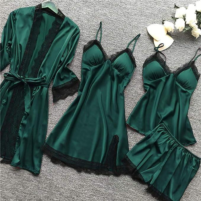 YOcheerful Women Sleepwear Dress Lady Dressing Gown Nightwear Mini Dress Sleeveless Top and Shorts Set Loungewear Set Navy