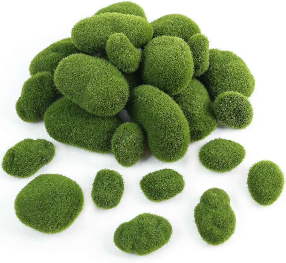 BigOtters 24 PCS Artificial Moss Rocks, 6 Size Faux Green Moss Covered Stones Green Moss Balls Fake Moss Decor for Fairy Gardens Floral Arrangements Craft