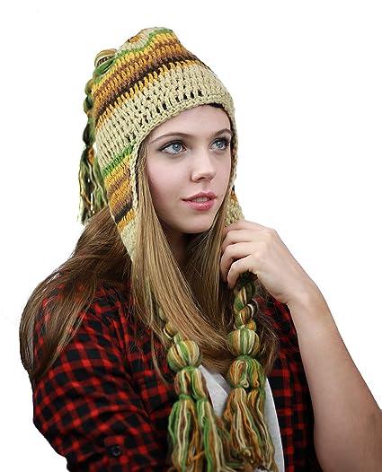 NYFASHION101 Handmade Multicolor Knit Nepal Ear Flaps Wool Fleece Lined Winter  Hat 01580ed8d7c