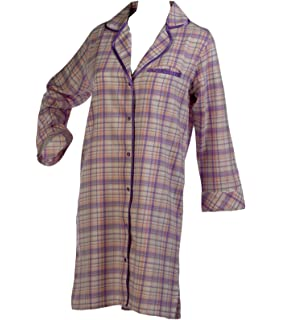 afb8cf3b6d Ladies 100% Combed Cotton Tartan Check Nightshirt Button Up Satin Style  Trim Nightie S -