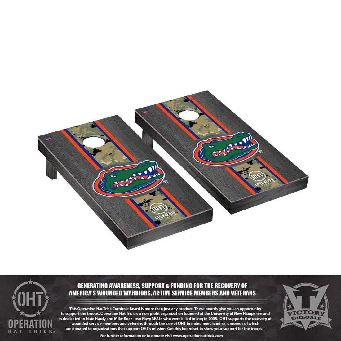 Operation Hat Trick Florida UF Gators Regulation Cornhole Game Set Onyx Stained Stripe Version by Victory Tailgate (Image #1)