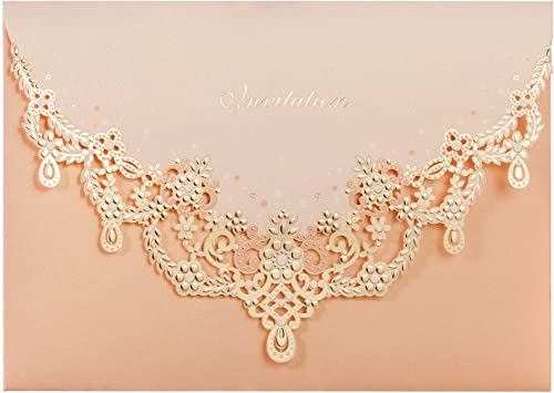 Wishmade Vintage Laser Cut Wedding Invitation Set With Peach Necklace Personalized Invitation Pocket Fold Design And Envelopes For Wedding Invite