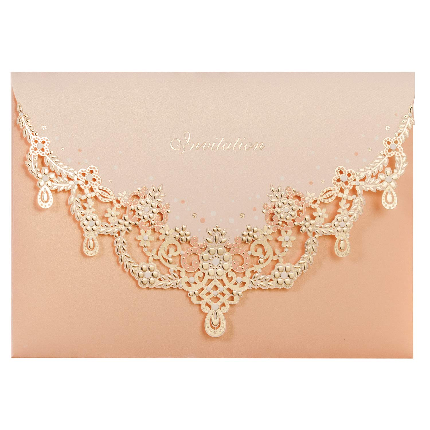 WISHMADE 50pcs Blush Laser Cut Flora Lace Wedding Invitation Cards with Blank Inner Sheets and Envelopes for Wedding Invite Engagement (Pack of 50pcs)