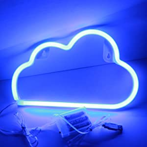 XIYUNTE Blue Cloud Light Neon Signs - Cloud Led Signs Neon Light Wall Decor, Battery or USB Powered Blue Neon Sign Night Light Light up Cloud Lamps for Kids Room,Christmas,Bar,Festive Party
