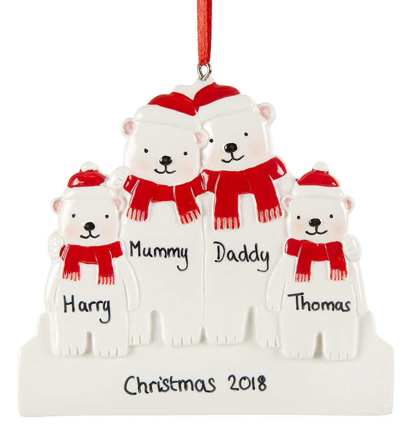 Alphabet Barn Christmas Decoration Personalised Family Of Four