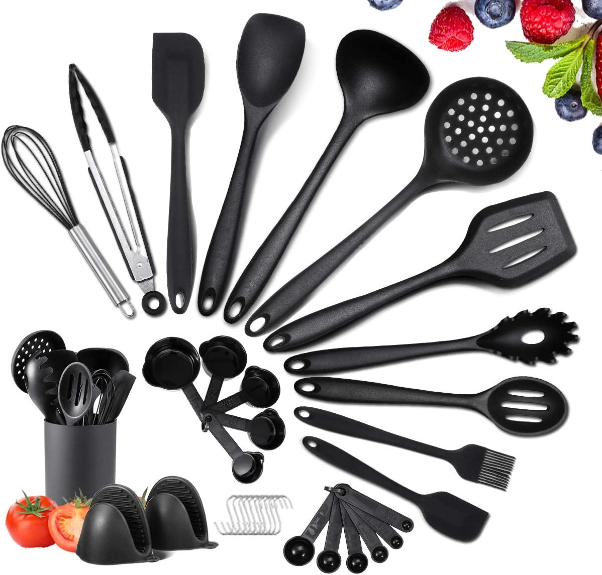 Kitchen Utensils Set Silicone Cooking Utensils Set With Holder, Godmorn 35 Pcs Kitchen Utensils for Cooking, BPA-Free Heat Resistant Kitchen Gadgets Tools for Nonstick Pan Cookware, Black