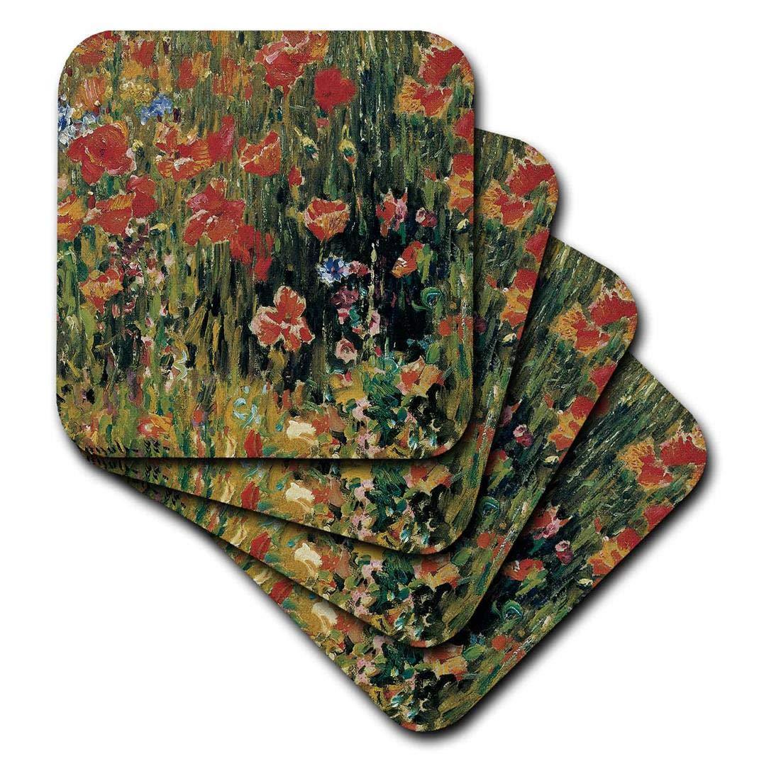 3dRose CST_126528_3 Poppies x Robert Vonnoh Impressionist Flower Garden Ceramic Tile Coasters (Set of 4)