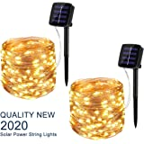 BINZET Solar String Lights Outdoor, 33Ft 100LEDs Waterproof Decorative Copper Wire String Lights for Party, Patio…