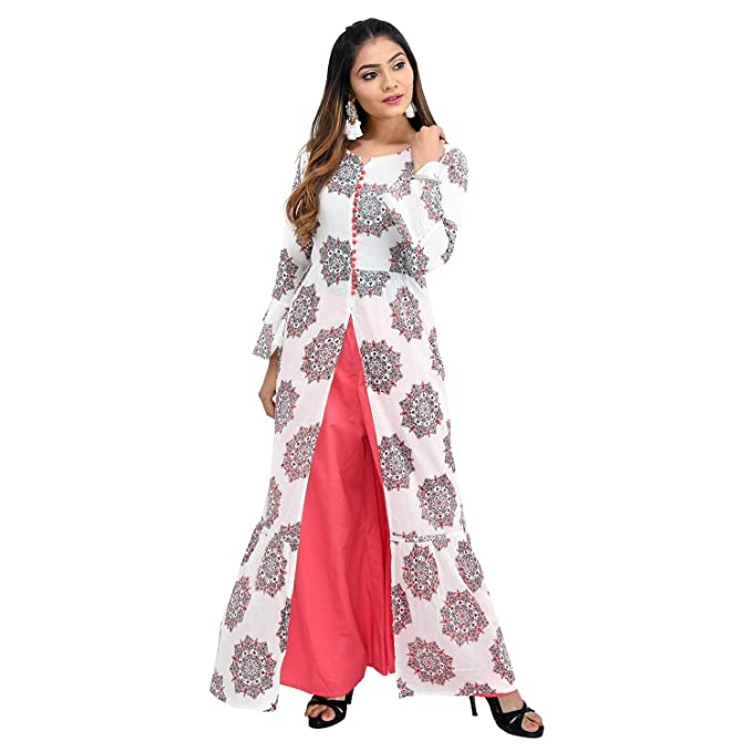 b4178ede5f6 Vedic White Cotton Printed Ankle Length Kurti for Women  Amazon.in  Clothing    Accessories