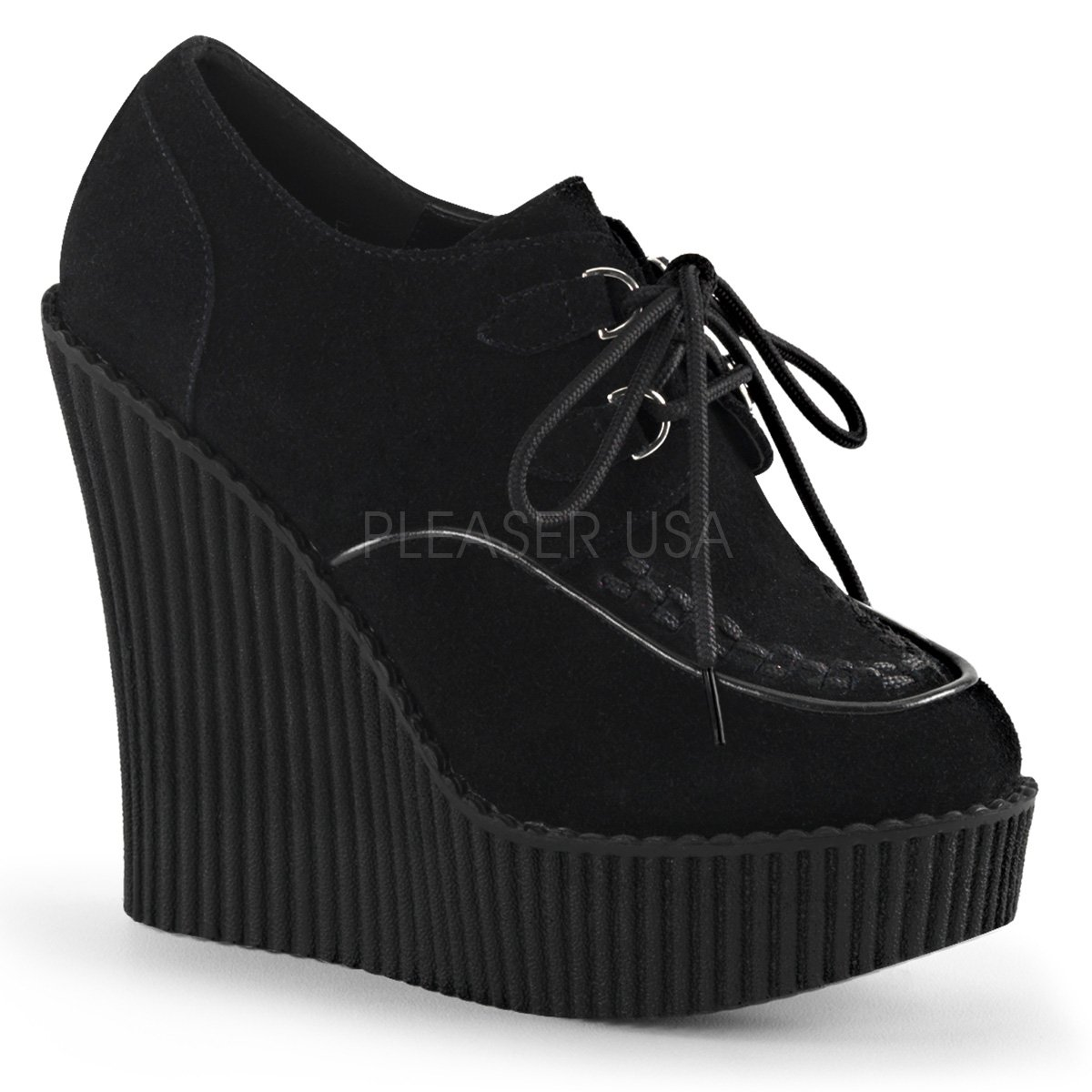 Demonia Pleaser CREEPER-302 Women 5 1/4 Wedge PF D-Ring Lace-up Front Vegan Creeper B018VIRNZW 8 B(M) US|Blk Vegan Suede
