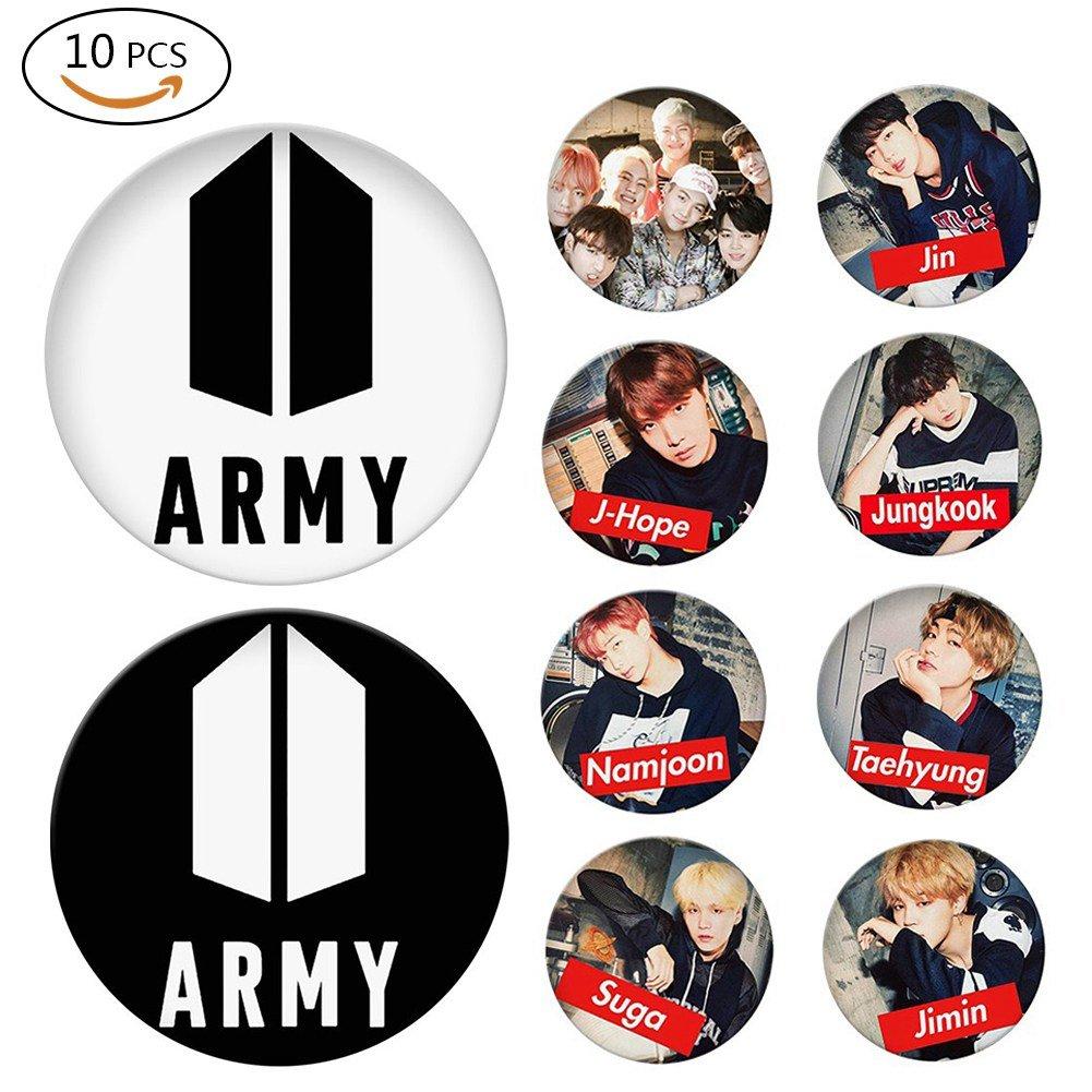 Bestomrogh 10Pcs KPOP BTS J-Hope/Namioon / Suga/Jin / Jungkook/Taehyung / Jimin/ARMY Badge Le Cadeau Parfait pour les Fans