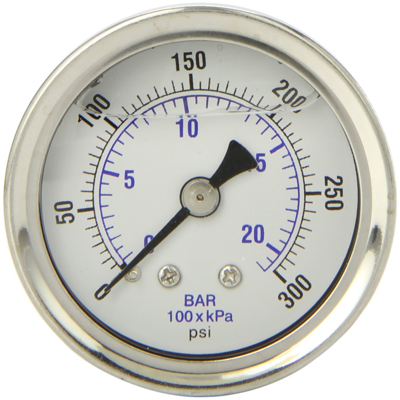 PIC Gauge 202L 158H 1.5 Dial 0 300 psi Range 1 8 Male NPT Connection Size Center Back Mount Glycerine Filled Pressure Gauge with a Stainless Steel Case Brass Internals Stainless Steel Bezel and Polycarbonate Lens