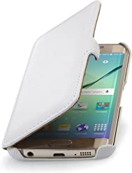 StilGut Housse pour Samsung Galaxy S6 Edge en Cuir véritable à Ouverture latérale