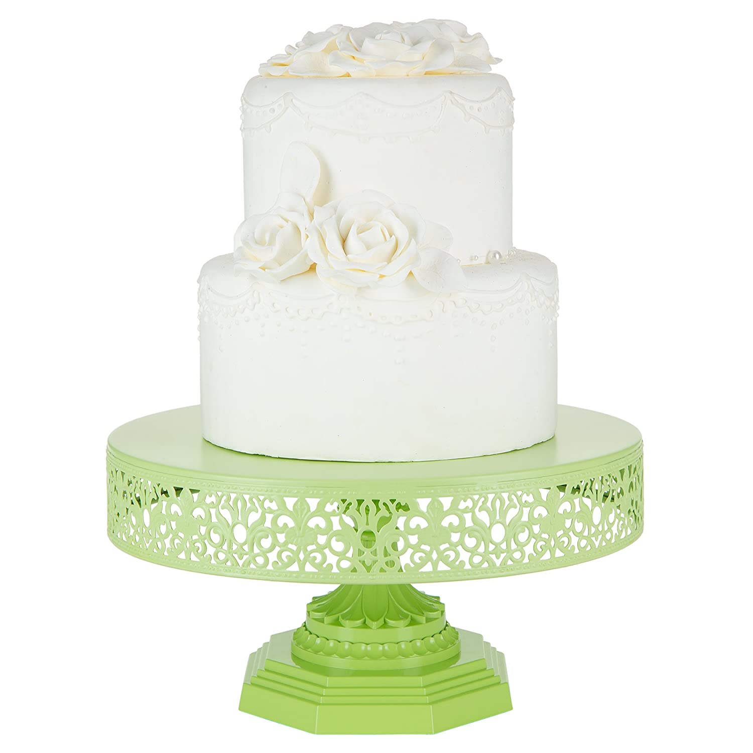 Amazon.com | Isabelle Collection Lime Green 12 Inch Metal Cake Stand ...