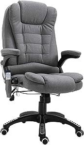 Vinsetto Linen Fabric Adjustable Heated Massage Recliner Office Chair - Dark Grey