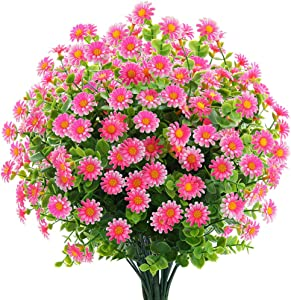 6 Bundles Artificial Small Daisy Mums Flowers Outdoor Fake Fall Flowers for Decoration No Fade Faux Plastic Autumn Flower Garden Porch Window Box Décor (Pink)