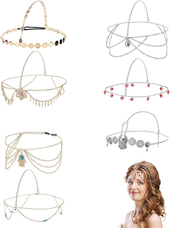 WILLBOND 8 Pieces Gold Head Chain Jewelry Boho Headband Head Chain Coins Pearl Tassel Chain Hair Band Festival Prom Wedding Headpiece for Women and Girls (Style B)